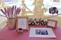 Purple Wedding  Welcome table decor  Sparkles  Venue Kukua Punta Cana  Design Begokua  Photo by HDC