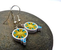 Earrings - Eco-friendly, Quilled Paper, Mandala, small