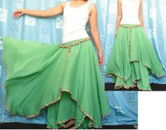 Circle Maxi Skirt Cotton Hippie Green Women Long ...