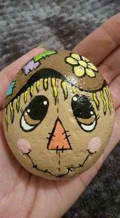 Hand Painted Rocks Stones scarecrow harvest crops