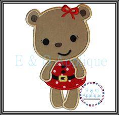 Santa Girl Bear Applique Design