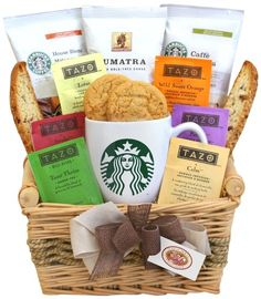 Coffee Gift Baskets - California Delicious Starbucks Daybreak Gourmet Coffee Gift Basket. Let this gift inspire good feeling and a fresh outlook with all the ingredients for a great day