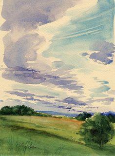 Articles similaires à En fin d'après-midi nuages - aquarelle originale de Plein Air sur Etsy