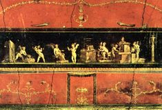 A section of the 1st century CE cupids frieze from the triclinium or dining room from the House of the Vetti in Pompeii. The frieze depicts cupids selling flowers and perfumes and as workers who sell flowers, make wine and work gold.