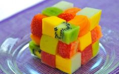 Gorgeous #entertaining idea ... Rubik's Cube Fruit Salad using cubes of fresh cut fruit like kiwis, strawberries, mangos, watermelon, cantaloupe, mandarin oranges, honeydew, papaya, apples, etc. [Note: no recipe in link, but includes a video about making a similar rubik's cube from different fruit.]