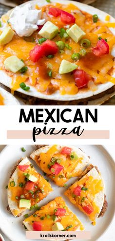 These Homemade Mexican Pizzas and better (and healthier) than the ones from Taco Bell! They are made with flour tortillas that are baked (not fried) filled with seasoned ground beef and refried beans. All topped with hot sauce, cheese and your favorite toppings! #tacobell #mexicanpizza #mexican #pizza #tortilla #copycatrecipe