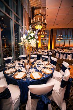 Blue and Gold (www.7centerpieces.com/houston-ballroom-wedding-by-hazel-west/) | Photography by Hazel West
