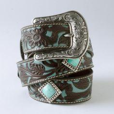 Turquoise Inlay with Rhinestones Belt