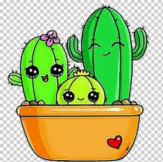 Kawaii Doodles, Cute Kawaii Drawings, Cartoon Drawings, Griffonnages Kawaii, Arte Do Kawaii, Cactus Drawing, Watercolor Cactus, Image Cactus, Cactus Silhouette