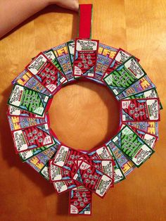 Homemade lottery wreath! All you need is a styrofoam ring, ribbon ...