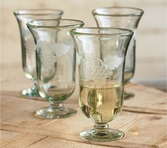 Etched Recycled Glass Goblets and Decanter - VivaTerra