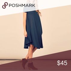 Navy Swing Dress So comfy and loose fitting.  A great piece for fall.  Pair with ankle booties or knee hi boots.  Ballet flats would be adorable.  Wear a sweater duster or vest duster. The possibilities are endless. Get this piece while you can. 😀 April Spirit Dresses Midi