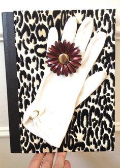 Vintage Glove Flower Leopard Notebook in Green by ZiLLAsQuEeN, $26.00
