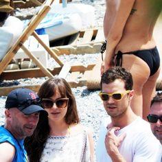 Jamie Dornan and Dakota Johnson arriving at Paloma Beach to film Fifty Shades Freed in France, July 12th | VIA @jamiedornan_org