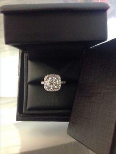 3 carat #diamond #engagement #ring set in a 14 karat white gold cushion halo setting @ #awaddiamonds #engagementring