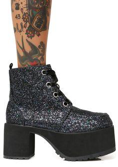 T.U.K. Black Jewels Glitter Nosebleed Boots