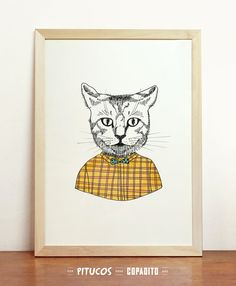 Cat Art Print Giclee Poster Fashion Animal in Clothes by Pitucos