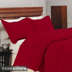 *This could be the foundation.  I can then add accents and mix up the sheets and other pillows.   Red or Black- Microfiber Down Alternative 3-piece Comforter Set