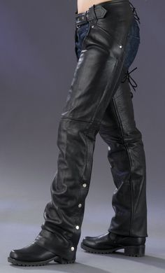 Corset Style Leather Motorcycle Chaps in Black - Womens Leather Chaps - Womens Leather and Denim Apparel - BaddAssChaps.com
