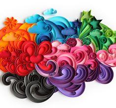 Mundo colorido feito de papel.