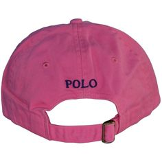 Polo Ralph Lauren Pony Logo Hat Cap Pink with Navy pony ($35) ❤ liked on Polyvore featuring accessories, hats, caps, headwear, polo ralph lauren, navy blue hat, navy hat, logo caps and logo hats