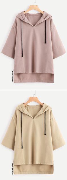 Hooded Drawstring Dip Hem Woollen Blend Sweatshirt