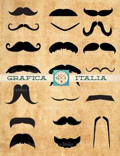 Mustache Set Clip Art - 20 Image Set -  Mens Hipster Stache Clipart - vector / png / collage digital download - scrapbooking, DIY Crafts - Printable by graficaitalia