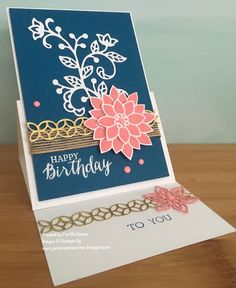 Birthday Easel card using Stampin Up's Flourishing Phases and Rose Wonder Stamps sets by Jan McQueen. More info @ www.janscreativecorner.blogspot.com