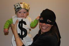DIY Mommy/Baby Halloween Costume - Mommy Robber and Baby Money Bag (sleep sack, felt, headband, copies of bills)
