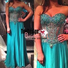 Wholesale Vestidos De Fiesta New 2017 Turquoise crystal Beaded Embellished Chiffon Prom Dress With Sheer Waist