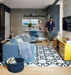 80 Smart Solution Small Apartment Living Room Decor Ideas And Remodel Small Apartment Living, Small Living Rooms, Rugs In Living Room, Living Room Designs, Living Room Decor Inspiration, Decoration, Home Decor, House, Decor Ideas