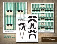 mustache baby shower | Oh Boy Mustache Baby Shower Printables by ModernVintagebyBonni