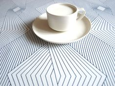 "Tablecloth white navy blue graphic lines 37""x37"""