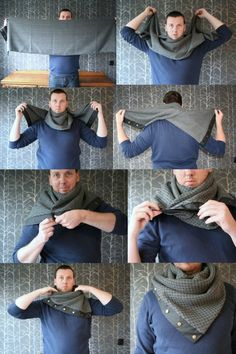 Items similar to Winter wool scarf in plaid pattern, long wrap scarf with snaps, unisex on Etsy is part of Sewing scarves - Model Nathalie Van Barneveld and Ricardo Huigen Sewing Scarves, Sewing Clothes, Diy Clothes, Long Scarf, Sewing Hacks, Sewing Tips, Sewing Projects, Neck Warmer, Plaid Pattern