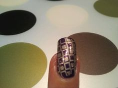 Sally Hansen Xtreme Wear- 170 Deep Purple Cheeky Template A Stamped with Sally Hansen Insta-dry 230 silver sweep Pure Ice -Busted