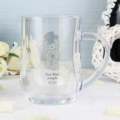 You can personalise this Me To You Tankard with a name up to 20 characters in length. You can then personalise with a role (e. Best Man) up to 12 characters long. All personalisation is case sensitive and will appear as entered. Due to the natur. Special Day, Special Gifts, Personalized Wedding, Personalized Gifts, Wedding Glasses, Tatty Teddy, Party Gifts, Best Gifts, Valentines