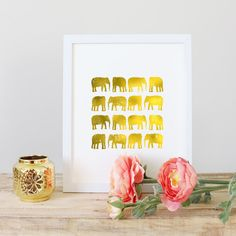 Gold Elephant Digital Art Print, Faux Gold Foil, Wall Art Ideas - Art Printable - Affordable Art - Gift under 5