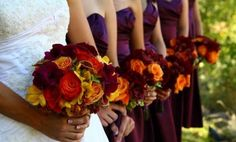 Color Schemes for Fall Weddings? (And Dont Say Orange! LOL!) :  wedding colors fall Fall Purple Orange Autumn Bouquet