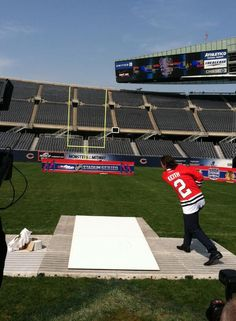 Duncs shoots the puck through the Soldier Field uprights! It's up... and it's good!