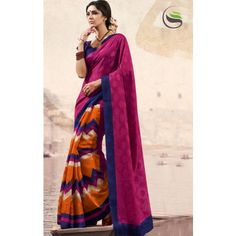 Stylist pink color bhagal puri silk printed saree with blouse