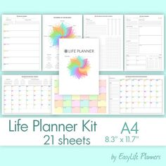 LIFE PLANNER KIT A4 8.25x11.69. Daily Weekly by EasyLifePlanners