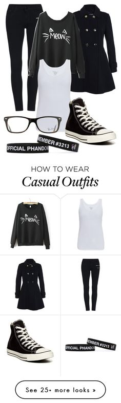 """Casual"" by moose-notmoose-clarence on Polyvore featuring Miss Selfridge, Majestic, Converse and Ray-Ban"