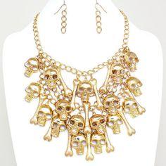 Gold Metal Bib Necklace SKULL & BONE Dangle Charm Day of the Dead Halloween | eBay