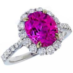 pink sapphire diamond 18k white gold ring