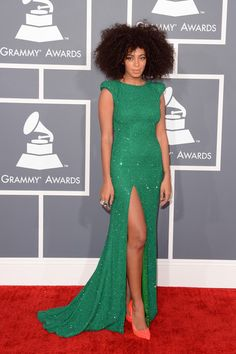 The 2013 Grammy Awards Red Carpet...love her Hair....trying to let my curls just grow out to a blow out...
