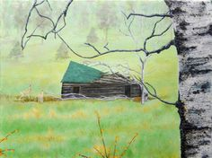 WOODED DREAM on Canvas, Reproduction Painting Landscape 12X16 Wildlife Scenic Deer Birch Tree Nature Peaceful Rustic Cabin Pine Woods by ABrushOfLife on Etsy