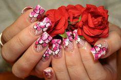 I love these nails. Nail Polish Designs, Cool Nail Designs, Great Nails, Fun Nails, Chic Nails, Rose Nails, Nail Envy, French Tip Nails, Nail Art Hacks