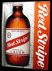 Ice cold Red Stripe beer on a hot Summer day!