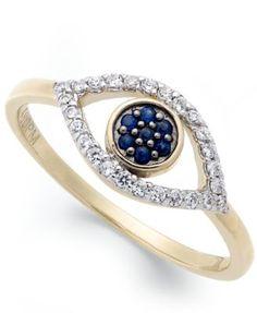 wrapped™ Diamond Evil Eye Ring (1/6 ct. t.w.) in YellOra™ $183