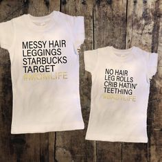 Mom Life/Baby Life Mommy + Me Tshirt Set